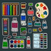 Set Of Cute Hand Drawn Stickers Of Different Types Of Paint And Color Pencils. Vector Hand Drawn Art poster