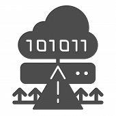 Cloud Cyber Attack Solid Icon. Ddos Server Hack Vector Illustration Isolated On White. Server Attack poster