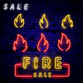 Neon Fire Icon. Elements Of Eco In Neon Style Icons. Simple Neon Flame Icon For Websites, Web Design poster