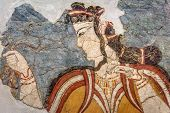 Ancient Greek Fresco Of Woman. Remains Of The Culture Of Ancient Civilization In Greece. Beautiful A poster