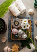 Spa And Wellness. Spa Products In Natural Setting Overhead Flatlay Of Spa Treatment poster
