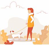 Line Art Woman Character Walking With Cute Dog. Girl Walking In Autumn Park With Her Dog. Vector Ill poster