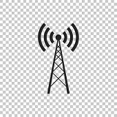 Antenna Icon Isolated On Transparent Background. Radio Antenna Wireless. Technology And Network Sign poster