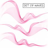 Set Abstract Color Wave. Color Smoke Wave. Pink Wave. Vector Abstract Lines. poster
