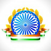 stock photo of indian flag  - illustration of Indian flag color ribbon with Ashok wheel - JPG