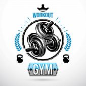 Vector Sport Equipment, Dumbbell With Disc Weight And Kettle Bell. Weight-lifting Association Emblem poster