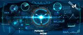 Spaceship Control Panel Dashboard In Hud Style. Futuristic Vr Head-up Display Design. View From The  poster