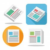 News Paper Icon. Color Newspaper Image Vector Set For Latest Finance News, Internet Articles And Med poster