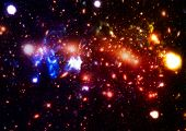 Chaotic Space Background. Planets, Stars And Galaxies In Outer Space Showing The Beauty Of Space Exp poster