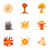 Explosion Icons Set. Cartoon Set Of 9 Explosion Icons For Web Isolated On White Background poster