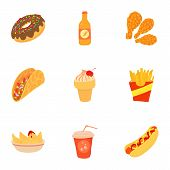 Tasty Fast Food Icons Set. Cartoon Set Of 9 Tasty Fast Food Icons For Web Isolated On White Backgrou poster