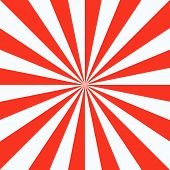 Red White Sunbeam Background. Red Striped Abstract Wallpaper. Vector Illustration. poster