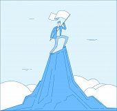 Man Mountain Peak. Successful Businessman Winner Enjoy With Flag On Top. Business Achievement Victor poster
