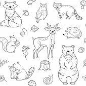 Forest Animals Seamless Pattern. Fox Owl Raccoon Beaver Bear Hedgehog Squirrel Fox. Woodland Baby An poster