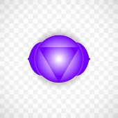 Third Eye Chakra Ajna In Indigo Color Isolated On Transparent Background. Isoteric Flat Icon. Geomet poster