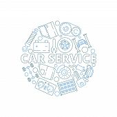 Car Service Background. Mechanical Automobile Parts In Circle Shape Starter Engine Gear Garage Vecto poster