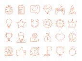 Gamification Symbols. Business Achievements Rules For Gamers Competitive Managers Working Playing Ve poster