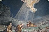 Angel of the Lord visited the shepherds and informed them of Jesus' birth, Bethlehem, Church at the