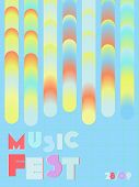 Music Cover In Blue, Violet, Pink, Green Colors. Rock Concert Flyer. Minimal Tech Brochure. Waveform poster
