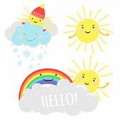 Cute Sunny Vector Illustration With Cartoon Sun, Clouds And Rainbow. Meteorological Sunny Sun And Cr poster