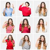 Collage of beautiful young woman wearing different looks over white isolated background Shouting fru poster