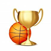 Basketball Award Vector. Basketball Ball, Golden Cup. Sports Game Event Announcement. Basketball Ban poster