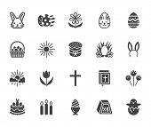 Easter Flat Glyph Icons Set. Colored Eggs, Basket, Egg Hunt, Rabbit, Spring Flowers, Bible, Cake Vec poster