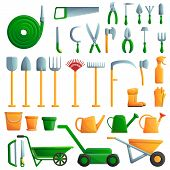 Gardening Tools Icons Set. Cartoon Set Of Gardening Tools Vector Icons For Web Design poster