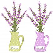 Set Of Retro Jugs With Roses As Applique In Shabby Chic Style poster