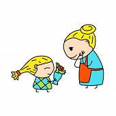 Happy Mother And Daughter Simple Vector Illustration On White Background. Girl Greeting Mother With  poster