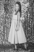 Little Princess In Beautiful Dress. Little Princess Pose On Silver Background. poster