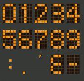 Set Of Calculator Digital Numbers. Electronic Figures. Lcd Digital Number. Orange Clock Digital. poster