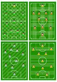 Set Of Four Football Fields With A Different Scheme Of Players On The Field. Soccer Field For Playin poster