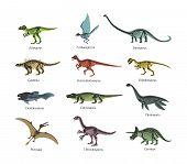 Skeletons Ancient Prehistoric Predatory Dinosaurs. Silhouettes Bone Wild Animal Dinosaurs. poster