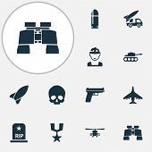 Army Icons Set With Artillery, Helicopter, Fighter And Other Slug Elements. Isolated  Illustration A poster
