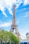 Eiffel Tower At Morning Time In Paris, France. Eiffel Tower Is Famous And Best Destinations In Paris poster