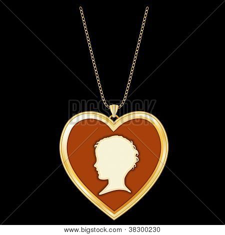 Gold Heart Locket, Child's Cameo, Chain Necklace