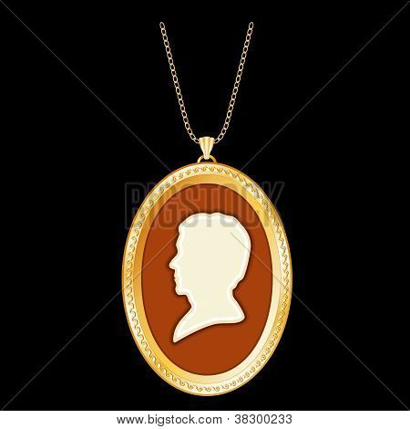 Antique Gold Locket, Vintage Gentleman Cameo, Chain Necklace