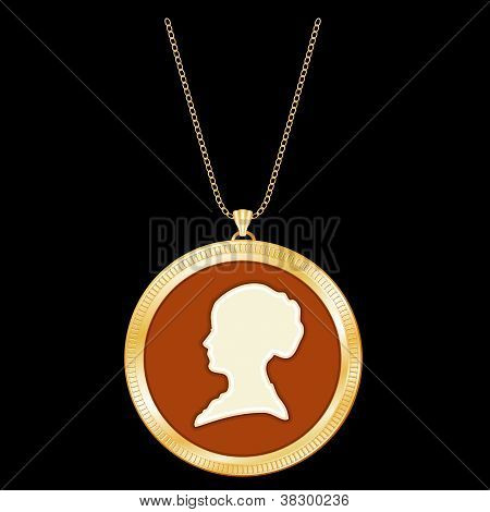 Antique Gold Locket, Vintage Lady Cameo, Chain Neckalce