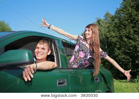 Guy And Girl In Car