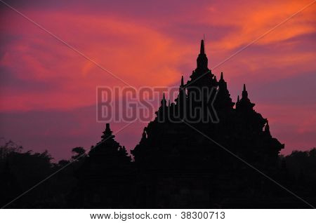 Silhouette Of Old Temple At Sunrise