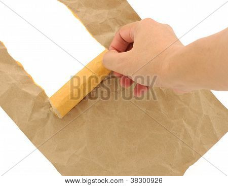 Hand Man Doing Brown Paper Torn With Copy Space For Text