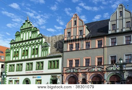 Houses On A Market Square In Weimar, Germany