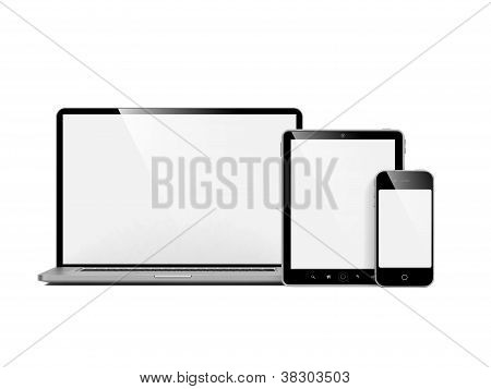 Computer, Laptop and Phone on White.