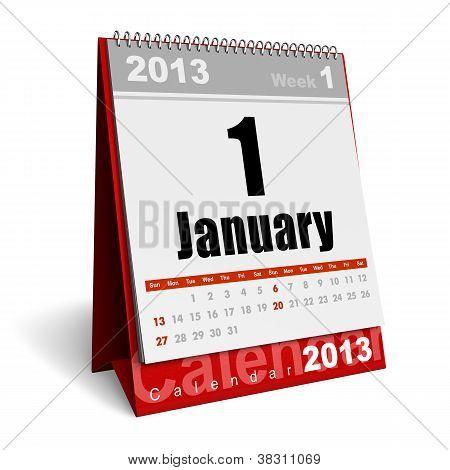 Calendário de janeiro de 2013