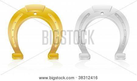 Gold And Silver Horseshoe Talisman Charm Vector Illustration