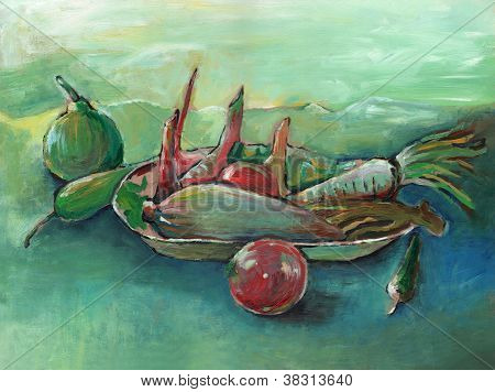 Arcylic Painting Of Vegetable