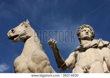 Statue Of Castor With A Horse At Capitoline Hill In Rome