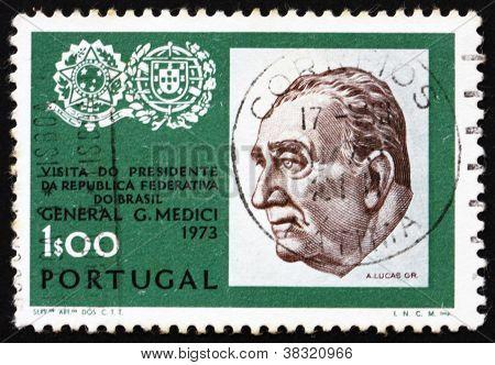 Postage stamp Portugal 1973 General Emilio Garrastazu Medici