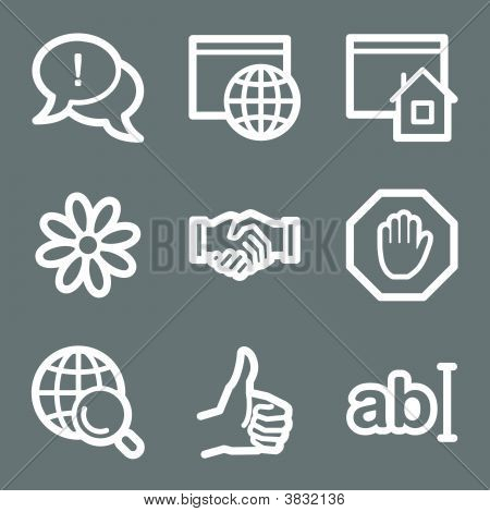 White Internet Communication Web Icons V2